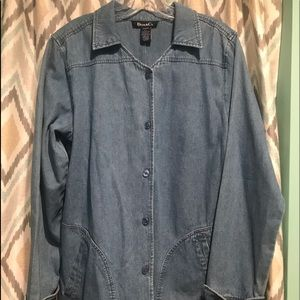 Denim & Co Brand New Womans Jean Shirt Flowers Md.